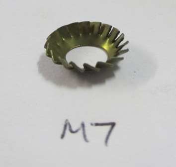 Conical serrated washer for door catch striker plate screw, M7