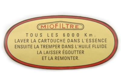 Old type air filter sticker